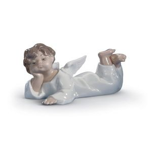 Lladro Angel Laying Down Figurine Collectible
